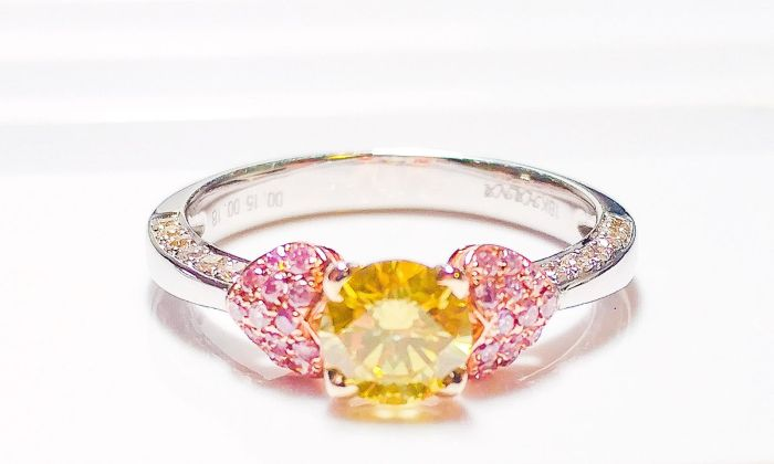 Real Engagement Ring 1.15ct Natural Fancy Intense Yellow & Pink GIA 18K Gold