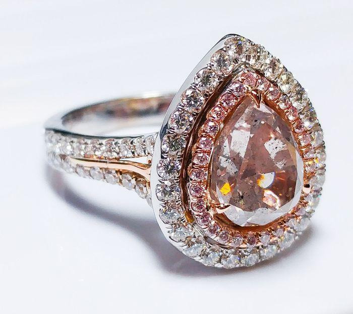 3.75Ct Fancy Pink & Purple Diamond Engagement Ring GIA 18K White Gold Pear Shape