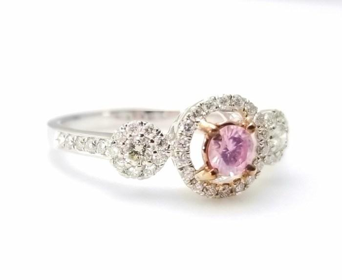 1.03ct Fancy Pink Diamond Engagement Ring GIA Round Hallo 18K White Gold SI1