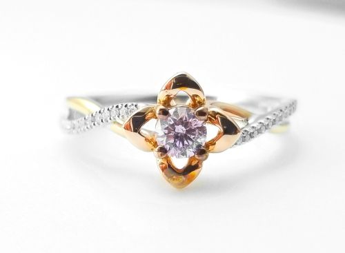 0.52ct Natural Fancy Pink Diamonds ARGYLE Engagement Ring GIA Round 18K Gold