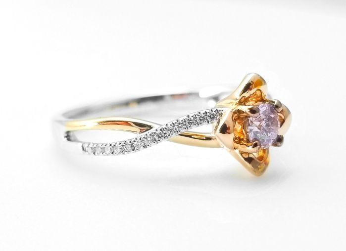 0.52ct Natural Fancy Pink Diamonds ARGYLE Engagement Ring GIA Round 18K Gold
