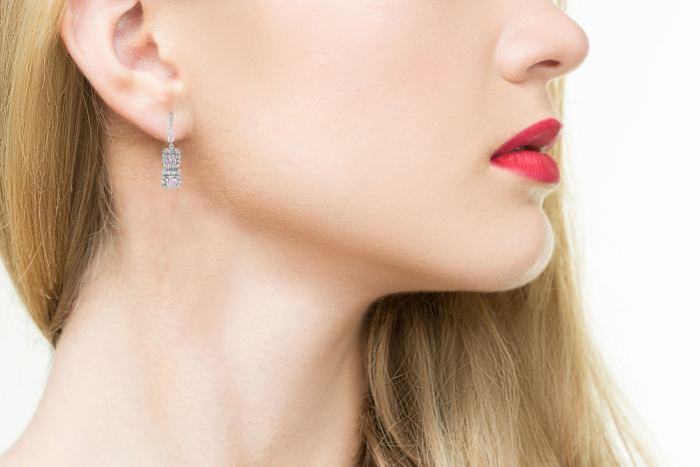 2.45ct Natural Princess Fancy Pink Diamonds Earrings All GIA 18K Rose Gold VS-SI