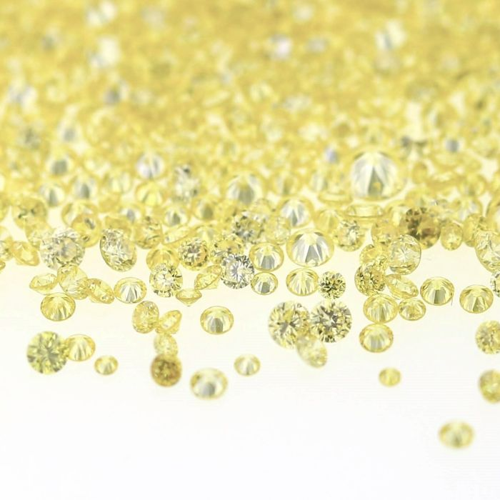 Natural Fancy Yellow 0.005 ct to 0.08 ct Round cut Diamonds Parcel Melles Mix