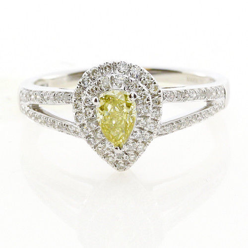 Real 0.73ct Natural Fancy Yellow Diamonds Engagement Ring 18K Solid Gold Pear