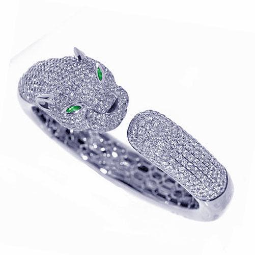 Real 10.65ct Natural F Color Diamonds Tiger Bracelet Bangle 18K Solid Gold 55Gr
