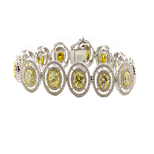 Yellow Diamonds - Bracelet 13.00ct Natural Fancy Yellow 18K 32 Grams Round Shape
