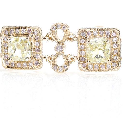 Yellow Diamonds - Bracelet 7.26ct Natural Fancy Yellow Diamonds 18K Gold Cushion