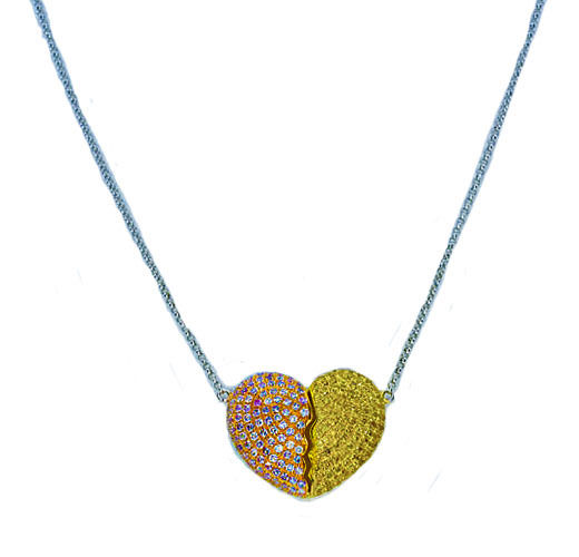 1.91ct Fancy Pink & Yellow Diamonds Necklace 18K All Natural 4G Real Gold