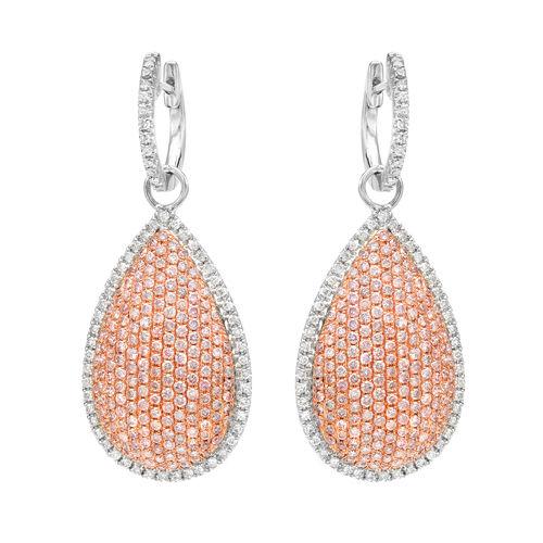 2.54ct Fancy Pink Diamonds Earrings 18K All Natural 10 Grams Real Rose Gold