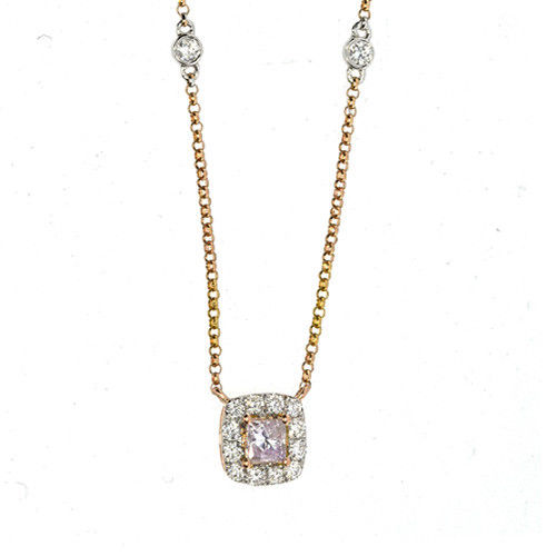 ARGYLE Pink Diamond - Necklaces & Pendant 0.61ct Natural Fancy Pink Cushion 18K