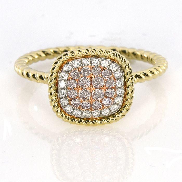 Real 0.30ct Natural Pink Purple Color Diamond Engagement Ring Cushion 18K VS-SI