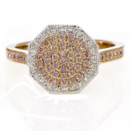 Real 0.88ct Natural Fancy Pink Diamonds Engagement Ring 18K Solid Gold 6G Band