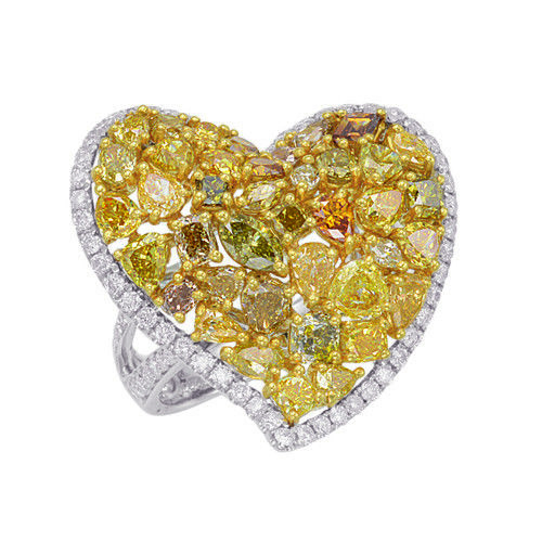 Real 4.61ct Natural Fancy Intense Yellow Diamonds Engagement Ring 18K Solid Gold