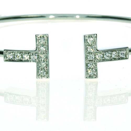 0.40ct Natural F Color Diamonds Bangle Bracele T Style 18K Solid Gold 7G