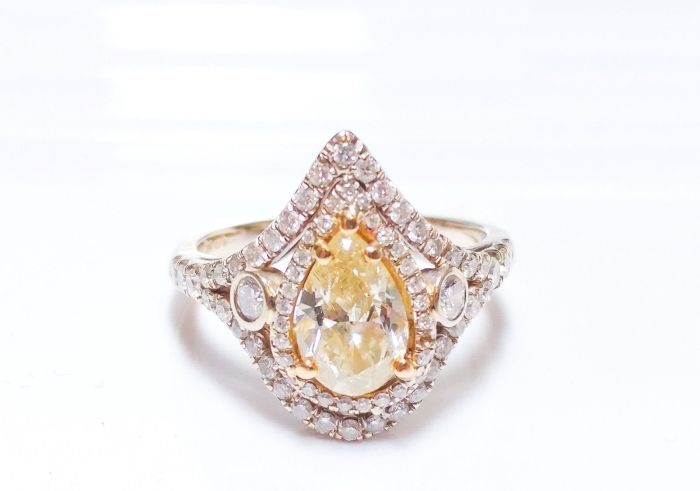 1.65ct Fancy Yellow Diamond Engagement Ring Hallo 18K White Gold SI1 Pear