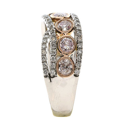 2.13ct Natural Fancy Pink Diamonds Engagement Ring 18K Solid Gold 7G Rounds