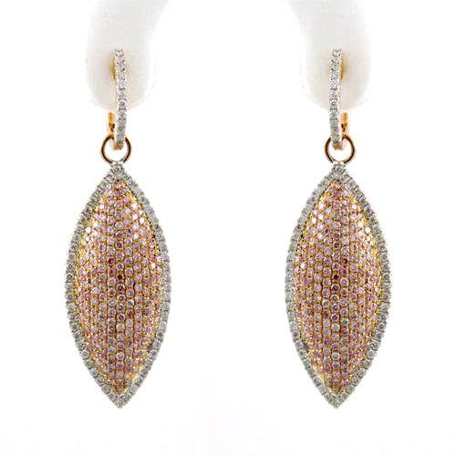2.46ct Fancy Pink Diamonds Earrings 18K All Natural 10 Grams Real Rose Gold