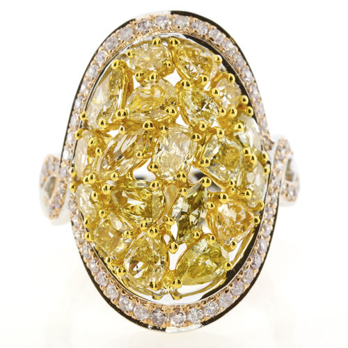 5.33ct Natural Fancy Vivid Yellow & Pink Diamonds Engagement Ring 18K Solid Gold
