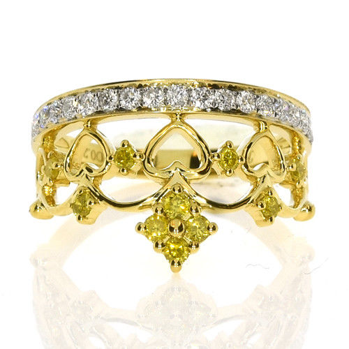 Real 0.49ct Natural Fancy Yellow Diamonds Engagement Ring 18K Solid Gold Crown