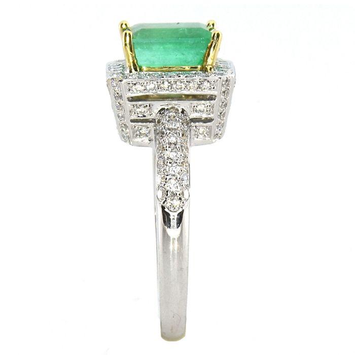 Real 2.84ct Natural Green Emerald Engagement Ring Emerald Cut 18K Gold G VS2