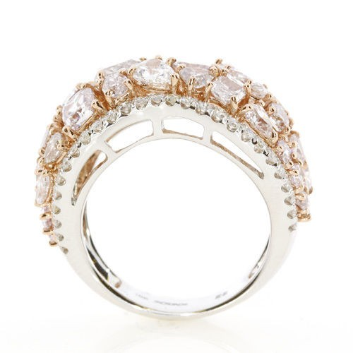Real 4.53ct Natural Fancy Pink Diamonds Engagement Ring 18K Solid Gold 6G Mix