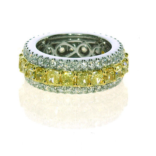 6.09ct Natural Fancy Yellow Color Diamonds Engagement Ring 18K Solid Gold 11G