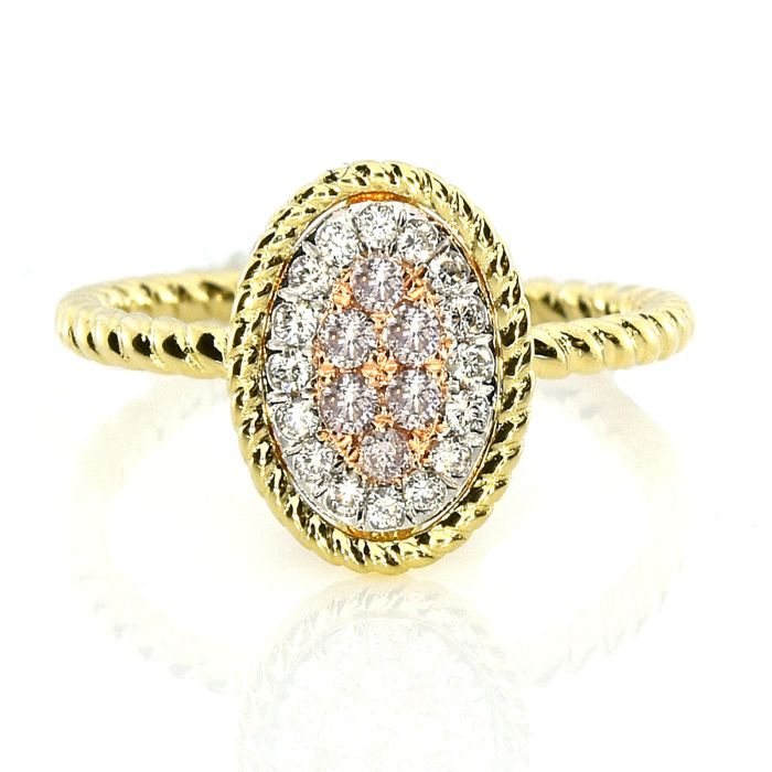Real 0.27ct Natural Pink Purple Color Diamond Engagement Ring Oval 18K VS-SI