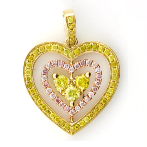 Real 1.00ct Natural Fancy Pink Diamonds Heart Pendant Necklace 18K Solid Gold