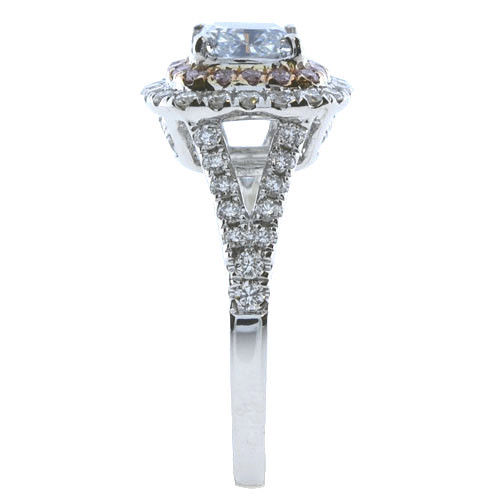 Real 2.01ct Natural Fancy Light Blue & Pink Diamonds Engagement Ring GIA 18K SI1