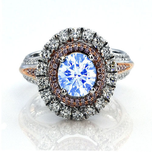Real 2.23ct Natural Faint Light Blue & Pink Diamonds Engagement Ring GIA 18K