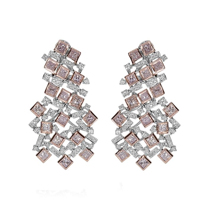 Real Fine 6.22ct Fancy Pink Diamonds Earrings 18K All Natural 16 Grams Rose Gold