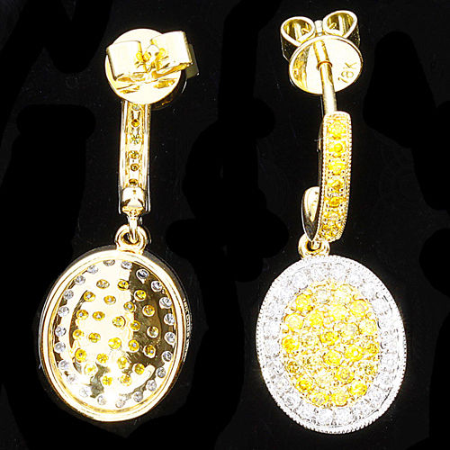 0.84ct Fancy Yellow Diamond Earrings 18K Canary All Natural 3.70 Grams Rounds