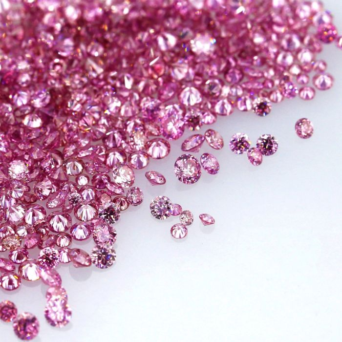 Natural Fancy Vivid Pink 0.002 ct to 0.08 ct Round cut Diamonds Parcel Melles
