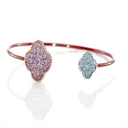 Real 0.20ct Natural Fancy Pink Diamonds Bracelet Bangle 18K Solid Gold 14G