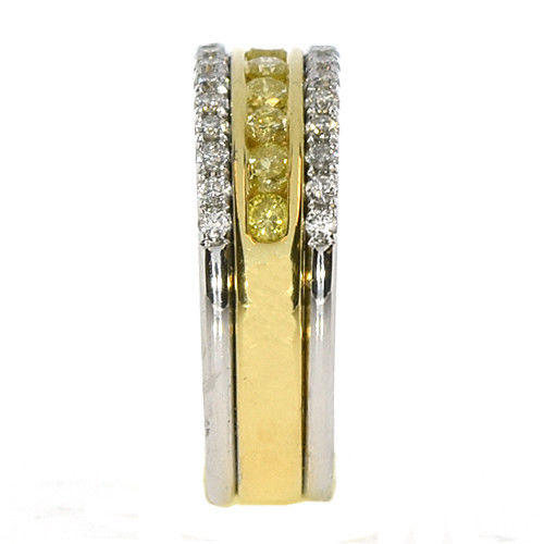 Real 0.77ct Natural Fancy Yellow Diamonds Engagement Ring 18K Solid Gold Band