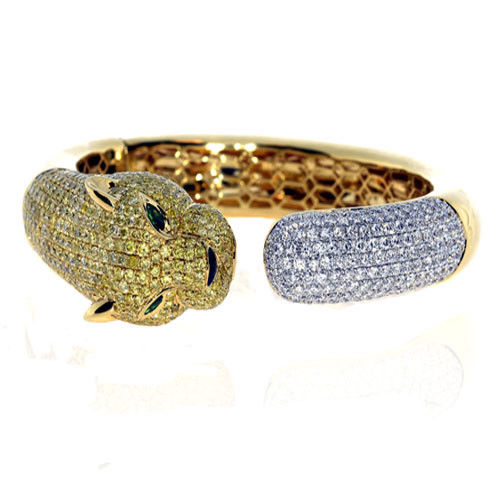 Real 11.44ct Natural Fancy Yellow Diamonds Bracelet Bangle 18K Solid Gold 59Gr