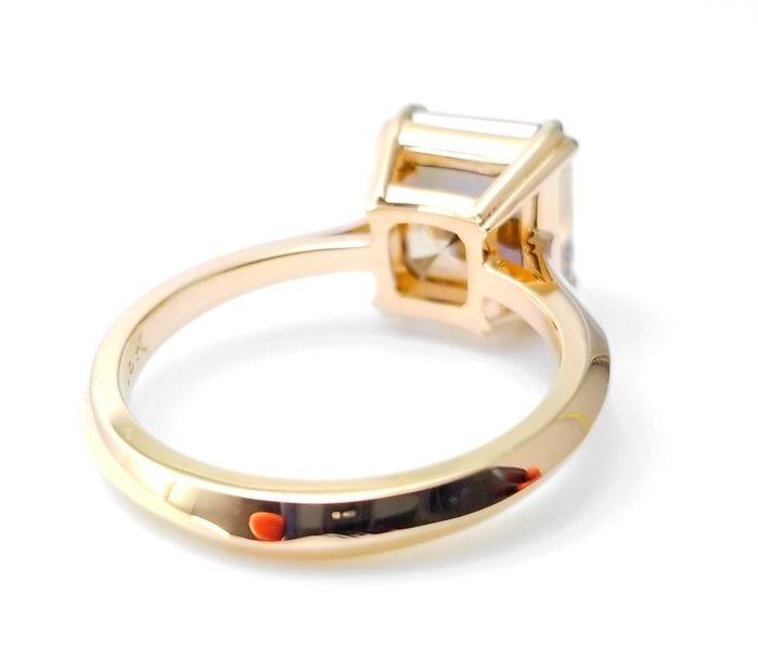 WoW 4.14ct Natural Fancy Orangy Brown Diamonds Engagement Ring 18K Asscher cut