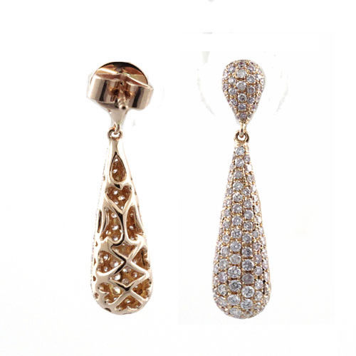 1.29ct Fancy Pink Diamonds Earrings 18K All Natural 4 Grams Rose Gold Rounds SI1