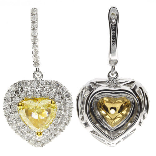 2.87ct Fancy Yellow Diamonds Earrings 18K All Natural 6 Grams Real Gold Canary