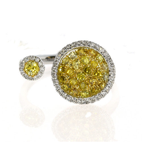 Real 0.73ct Natural Fancy Yellow Diamonds Engagement Ring 18K Solid Gold 4G