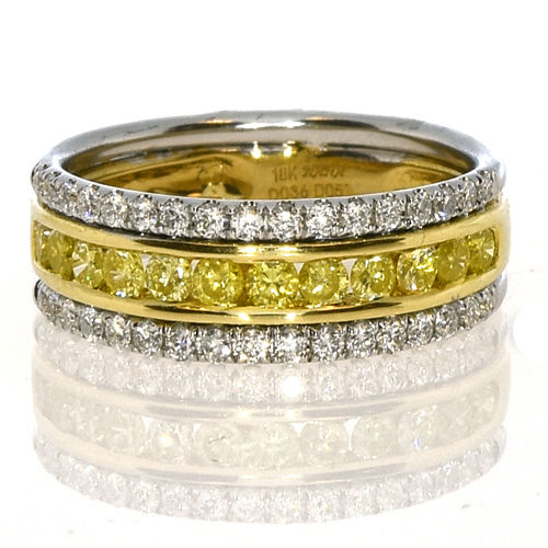 Real 1.01ct Natural Fancy Intense Yellow Diamonds Engagement Ring 18K Solid Gold