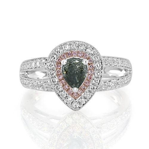 Real 1.15ct Natural Fancy Gray & Pink Diamond Engagement Ring 18K Solid Gold