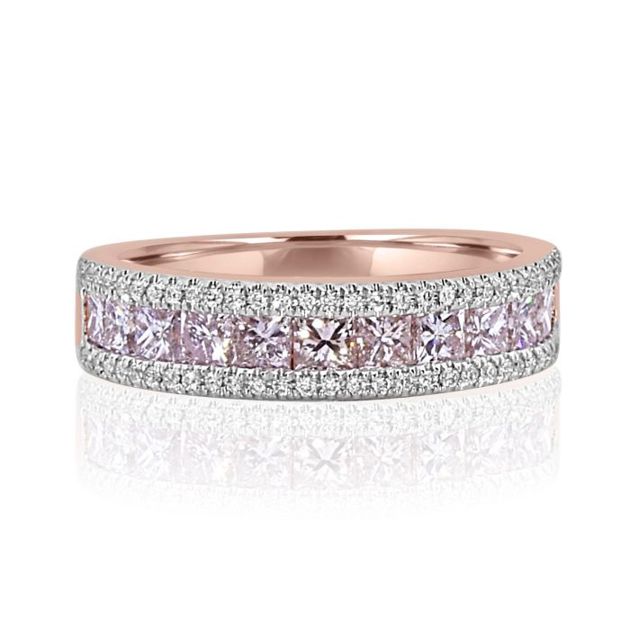 Real 1.46ct Natural Fancy Pink Diamond Engagement Ring 18K Solid Gold Princess