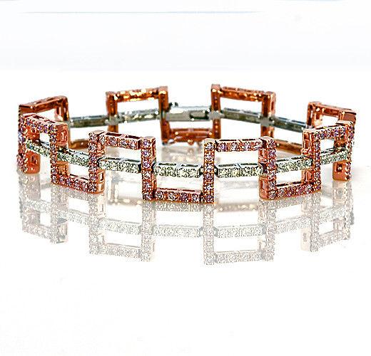 Real Pink Diamonds - Bracelet 3.90ct Natural Fancy Pink Color 18K 25 Grams