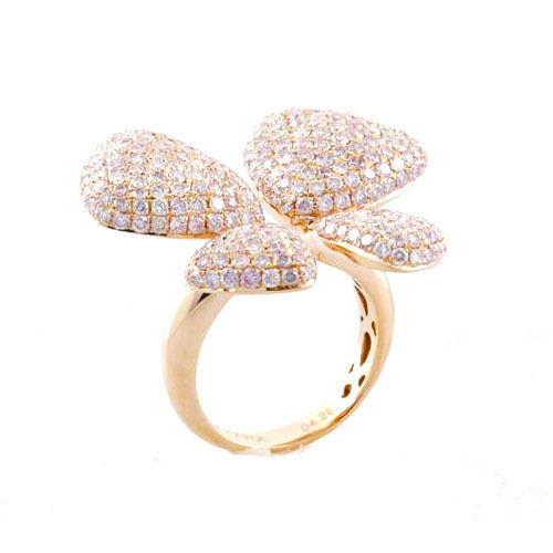 3.95ct Natural Fancy Pink Diamonds Engagement Ring 18K Solid Gold 9G Butterfly