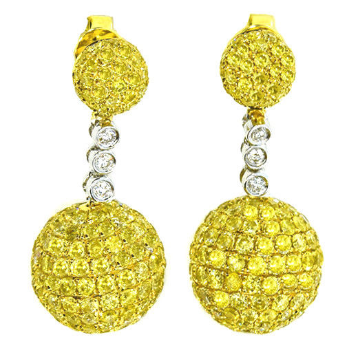 7.28ct Fancy Yellow Diamonds Earrings 18K All Natural 9 Grams Real Gold Canary