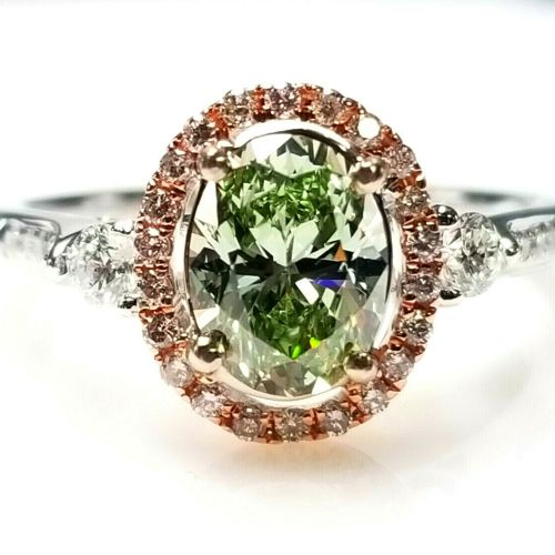 green and pink diamond ring