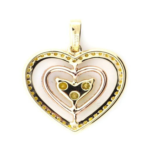 Real 1.00ct Natural Fancy Pink & Yellow Diamonds Pendant Necklace 18K Gold Heart