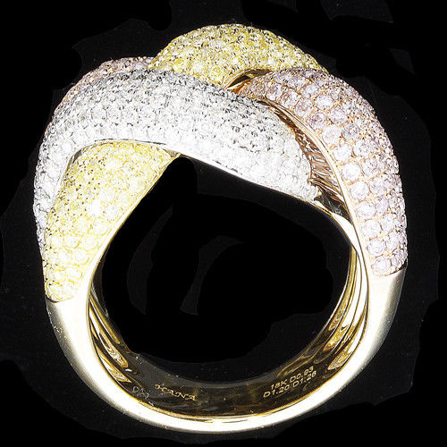 Real 3.50ct Natural Fancy Pink Diamonds Engagement Ring 18K Solid Gold 16G Band
