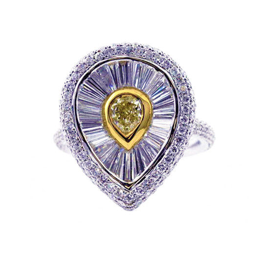 Real 3.81ct Natural Fancy Yellow Diamonds Engagement Ring 18K Solid Gold Pear